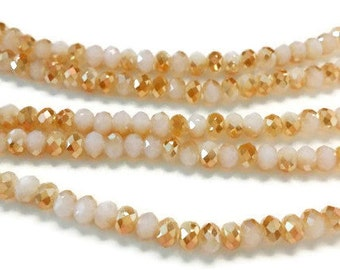 100 2x3mm two tone gold faceted glass beads, Suncatcher Beads, Spacer Bead, rondelle beads, R47