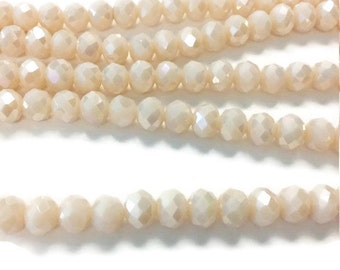 65 Peach AB Rondelle Beads, 6x8mm Faceted Glass Beads , Spacer Beads, Bead Supply, faceted rondelle beads, r25