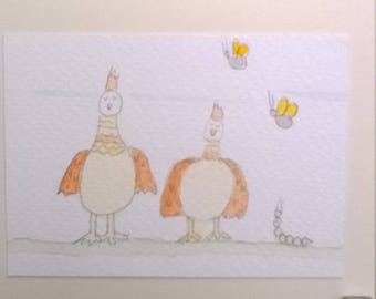 Greeting Cards Handmade Chickens Poultry