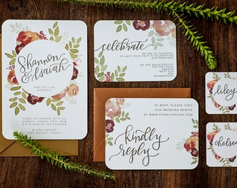 DEPOSIT ONLY // Custom Watercolor Floral Invitation Suite // Calligraphy // Hand-lettered // Custom Invite