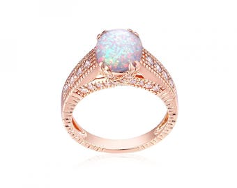18 ct Rose Gold Plated 2 ct White Fire Opal Ring Size 7