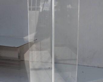 Vintage Clear Lucite Cube Pedestal.