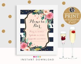 MIMOSA BAR SIGN, Instant Download, Mimosa Bar Printable, Bridal Shower Sign, Mimosa Sign, Watercolor Flowers, Navy, Wedding Buffet Sign