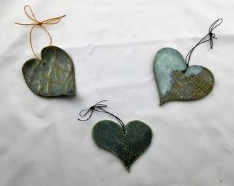 Ceramic Heart Ornaments, Hand Built Pottery, Year Round Ornaments, Home Decor, Nature Lover's Decor, Cottage Chic, Original Design