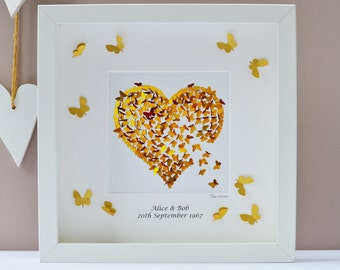Personalised Gold Wedding Anniversary Framed Print, Gold Wedding Anniversary Gift, Butterfly Anniversary Gift, Butterfly Anniversary Heart