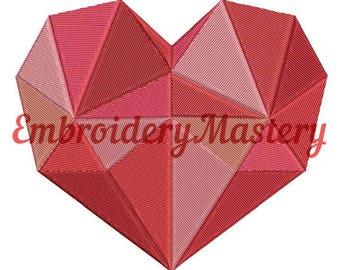 HEART Embroidery Design. Embroidery pattern heart. Polygonal heart. Geometric design. Instant download. 3 sizes