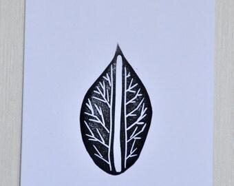 Leaf Notecards  Blank Cards Set of 5 Botanical Linocut Hand stamped