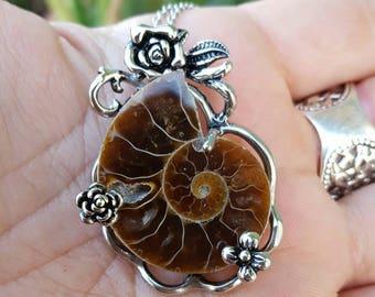 Stainless Steel & Ammonite Pendant | Ammomite Necklace | Ammonite | Fossil Necklace | Fossil Jewelry |  Fossil Pendant
