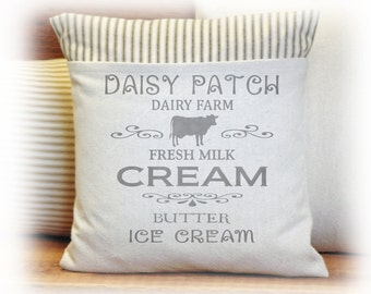 Daisy Patch Dairy Pillow Cover, Milk, Cream, Butter, Ice cream