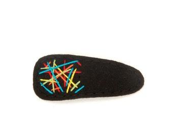 Graffiti Hair Clip Rainbow/black, Wool Felt Hair Clip, Toddler Hair Clip, Simple Hair Clip, Modern Hair Clip, Barrette, Kids