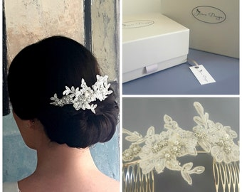 Lace Beaded Flower Bridal Headpiece by Jenoco Design