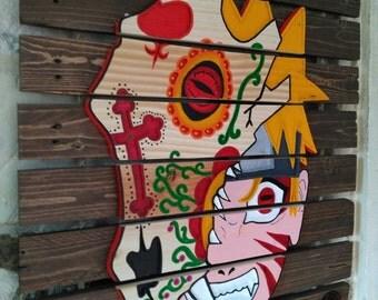 "Table wood skull-art ""Naruto!"""