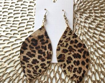 Leopard Leather Earrings, Leather Earrings, Leopard, Cheetah, Earrings