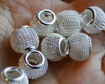 6 beads European mesh silver size 11 * 10 mm METAL bead