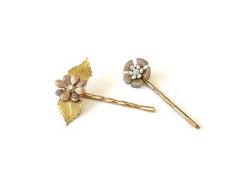 Flower bobby pin, bobby pin set, hair accessory, fancy bobby pin, floral hair pin, flower hair accessory, bridesmaid gift