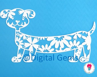 Dog paper cut svg / dxf / eps / files, and pdf / png printable templates for hand cutting. Digital download. Commercial use ok.