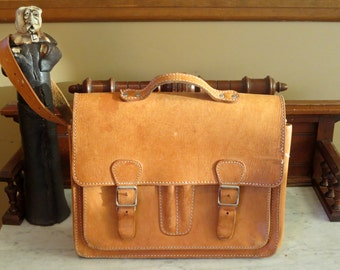 Country Life Briefcase Attache In Natural Leather- VGC