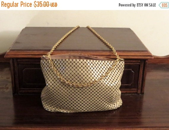 Football Days Sale Whiting & Davis White Beige Mesh Bag With Gold Tone Chain Strap - VGC
