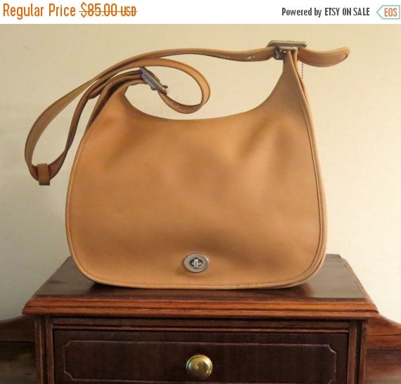 Football Days Sale Coach Legacy Crescent Flap Camel Leather Shoulder Bag With Nickel Tone Hardware- Style No. 9718 - VGC