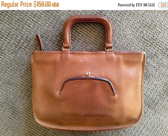 Football Days Sale Coach NYC Vintage Tan Leather Bonnie Cashin Kiss Lock Brief Case Hand Bag