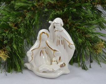 Ceramic Nativity With Gold Accents, Joseph Mary And Baby Jesus