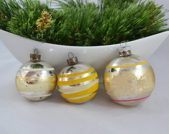 Vintage Silver Glass Ball Christmas Ornaments, Stripe and Stencil Ornament