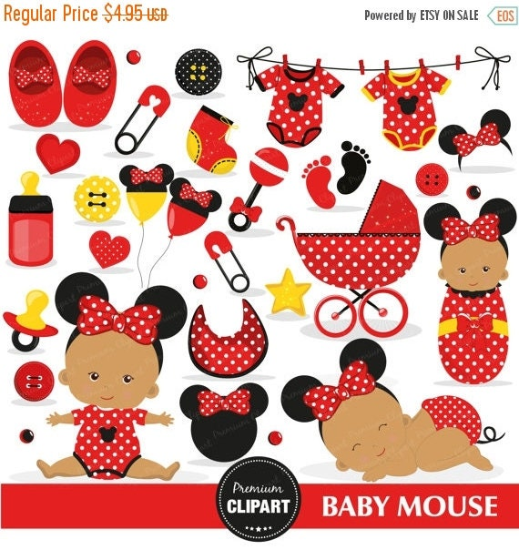 80% OFF SALE Minnie Mouse Baby Shower Clipart, African American ...