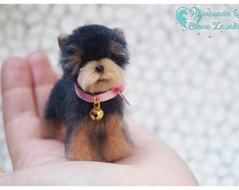 OOAK miniature felt dog/Yorkie/Needle felt yorkie/Dollhouse/Miniature/Tiny animal/ Yorkshire Terrier/ 1:12/Best selling item