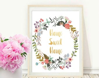Printable Art, Inspirational Print, Home sweet Home, Typography Quote, Home Decor, Motivational Poster, Wall Art