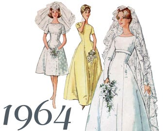 """1960s Wedding Dress Fit And Flare Gown Modest Wedding Dress SIMPLICITY 5496 bust 40"""" XL Wedding Dress Wedding Gown Pattern Retro Wedding"""
