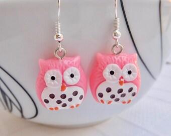 Pink & White Owl Earrings, Owl Drop Earrings, Cute Earrings, Pink Earrings, Owl Jewelry, Cute Jewelry, Owl Lovers Earrings, Gift For Her