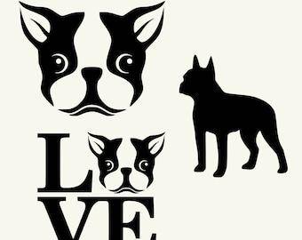 Dog SVG Boston Terrier Silhouette Head I love Boston Terrier Clipart  Vector Printable  Animal