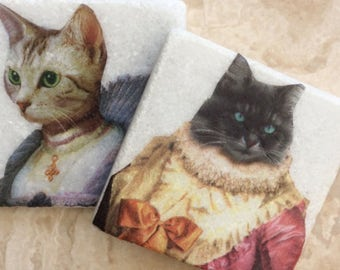 Set of 2 Marble Coasters~Royal Cat Couple/Quirky Cat Art/Whimsical/Tile Art
