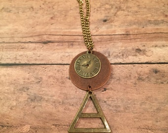 Bronze Triangle Clock Pendant