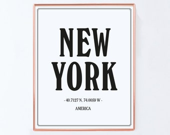 New York City, Graphic Art, USA, NYC Print, New York Poster, NYC Art, Black and White Art Typography Poster, New york wall art