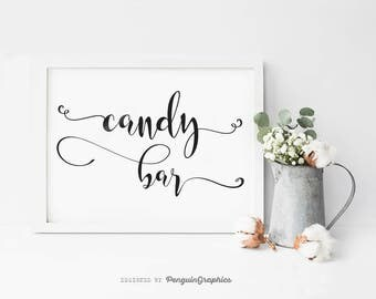 Wedding sign. Wedding print. Wedding candy bar sign. Wedding & party deco poster. Digital file for instant download. WS002C