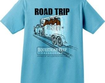 Road Trip Adult Equestrian Short Sleeve Washed Comfort Colors Pocket T-shirt