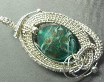 Sterling silver &  green transparent moretti glass bead pendant