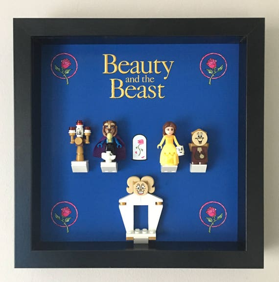 Beauty & The Beast Minifigure Frame, Mum, Gift, Geek, Box, Basic, Idea, Birthday, Anniversary, For Her, Lego, love, Mothers Day, Princess