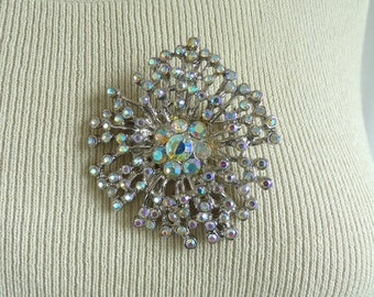60s crystal brooch, colorful iridescent crystal rhinestone brooch, 1960s large vintage mad men pin, vintage brooch costume jewelry jewellery