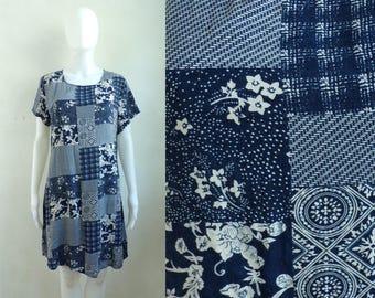 40%offAug15-17 70s patchwork rayon dress size large, blue white flora plaid lightweight day dress, 1970s boho mini dress sundress