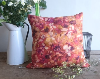 Ditsy Hydrangea Pillow Cover in Rust,  Wexford Linen Union 18 x 18 inches (47 x 47cm)