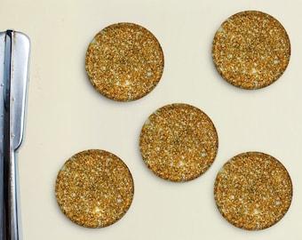 Glitter Magnets - Gold, Yellow, Golden, Girly, Office, Organization, Home Office, Refrigerator, Fridge, Glitzy, Locker Magnet, Organize