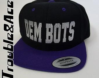 DEM BOTS Baseball Cap Purple Black Silver TPS F.I.R.S.T. Robotics Hat T-Prep Spirit Wear Temecula Preparatory School Flat Bill Snapback