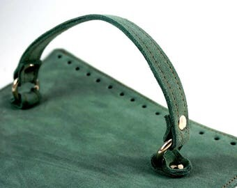 Petrol suede bag cap with handle Dimensions: 25x19 cm or custom suede leather bag accessories straps,purse straps,anses cuir, bag