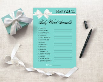 Baby And Co Baby Word Scramble Printable, Tiffany Theme Baby Shower, DIY  Baby Talk