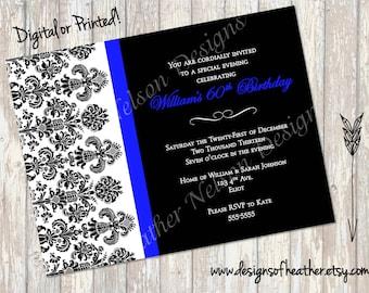 Black Damask and Royal Blue Digital Birthday Invitation