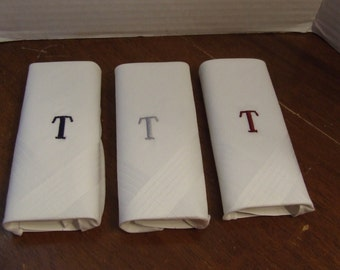 Embroidered T Men's Handkerchief, T Handkerchiefs, 3 Vintage Men's Monogrammed Initial T Handkerchiefs, Pocket square, Vintage Set of 3 New