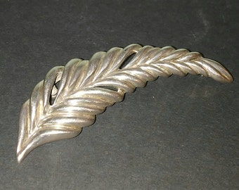 Old Taxco Sterling Silver Feather Brooch
