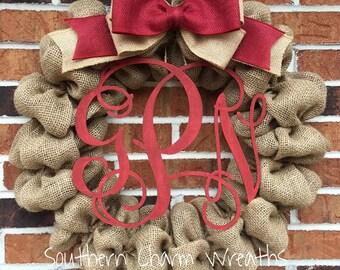 """18"""" Burlap Wreath With Red Monogram"""